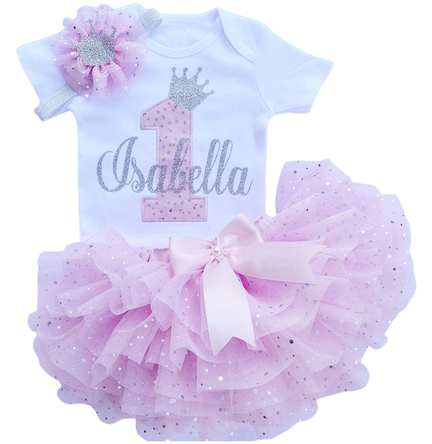 Pink and Lavender First Birthday Outfit Girl