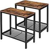 HOOBRO Side Table, Set of 2 Narrow Nightstands, Industrial End Table with Flat or Slant Adjustable Mesh Shelf for Small Space