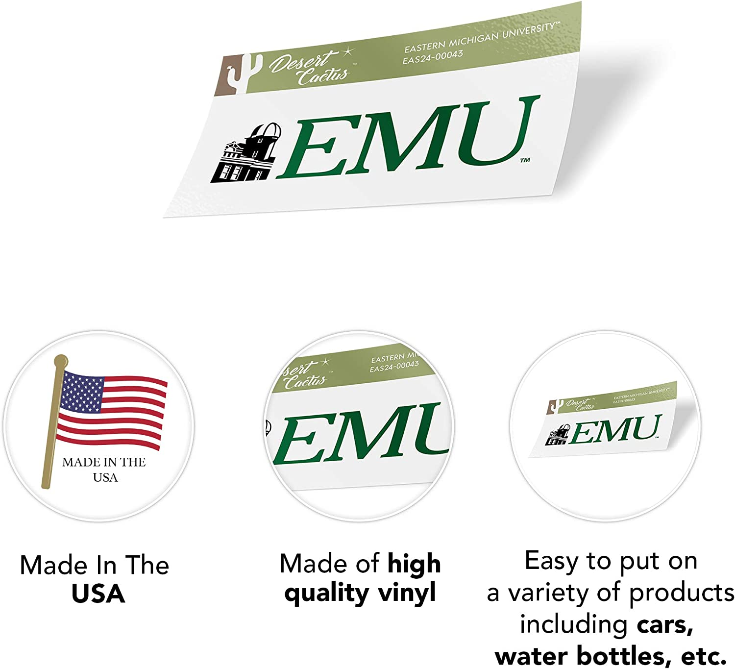 Sticker - 00043 Eastern Michigan University EMU Eagles NCAA Vinyl Decal Laptop Water Bottle Car Scrapbook