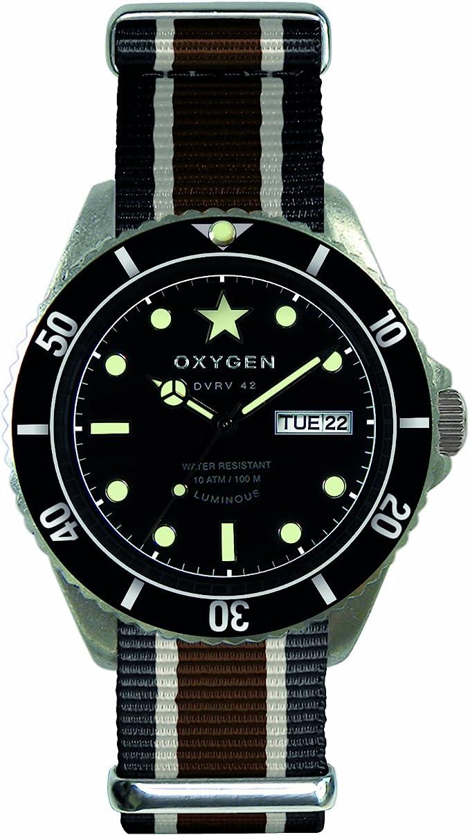 Oxygen EX-DV-CIG-41-BLIVBR - Reloj analógico de Cuarzo Unisex, Correa de Nailon Multicolor (Agujas luminiscentes)
