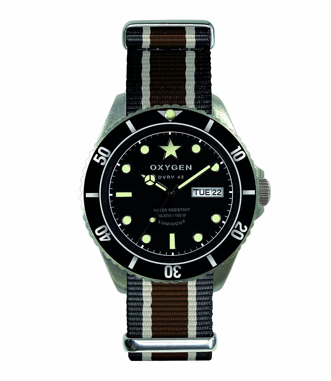 Oxygen EX-DV-CIG-41-BLIVBR - Reloj analógico de Cuarzo Unisex, Correa de Nailon (Agujas luminiscentes)