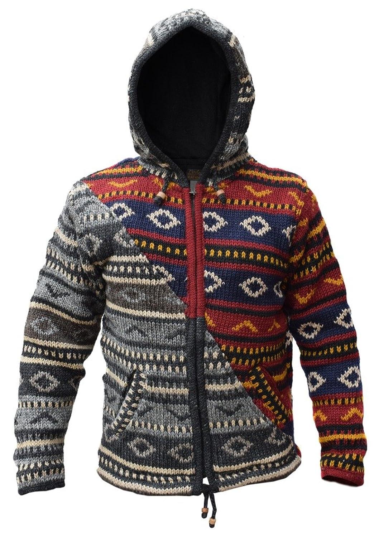 Little Kathmandu Knitted Woolen Diagonal Patch Diamond Pattern Jacket