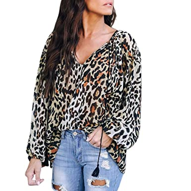 a4993417f921 Casual Limsea Women Ladies Tops Blouse Leopard Print Loose Long Sleeve  (Brown