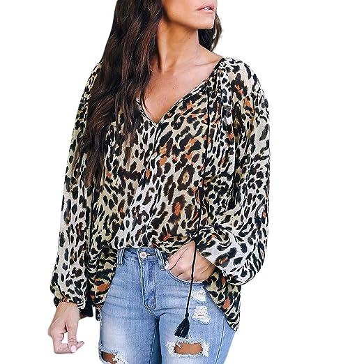 be31f6a501b9 Women Casual Loose Leopard Print Chiffon Shirt Top Fashion Drawstring Long  Sleeve