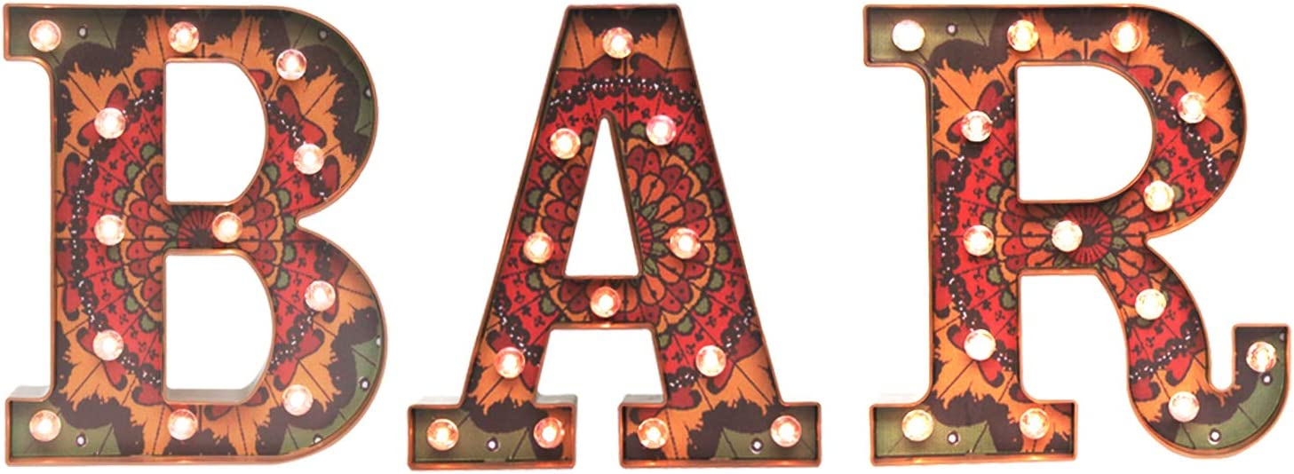 Vintage Bar Sign with Lights, Mandala Decoration Light Up Industrial BAR Marquee Letters Lights Retro Bohemian Style BAR Letters Indian Dorm Decor for Pub,Wedding Farmhouse Kitchen