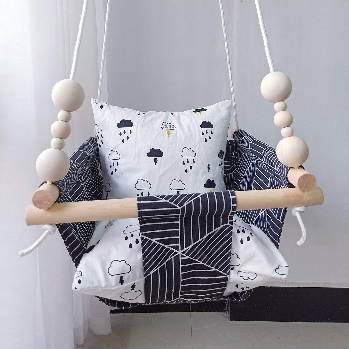 Tree /& Deer Indoor Outdoor Baby Hammock Chair Portable Hanging Seat Hammock for Toddlers HB.YE Handmade Safety Canvas Baby Swing Chair