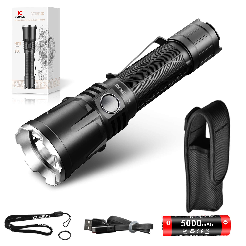 klarus XT21X Rechargeable Advanced Tactical Flashlight, 4000 Lumens, Beam Reach 316m, CREE XHP70.2 P2 LED, 5000mAh IMR 21700 Battery, Super Bundle by klarus