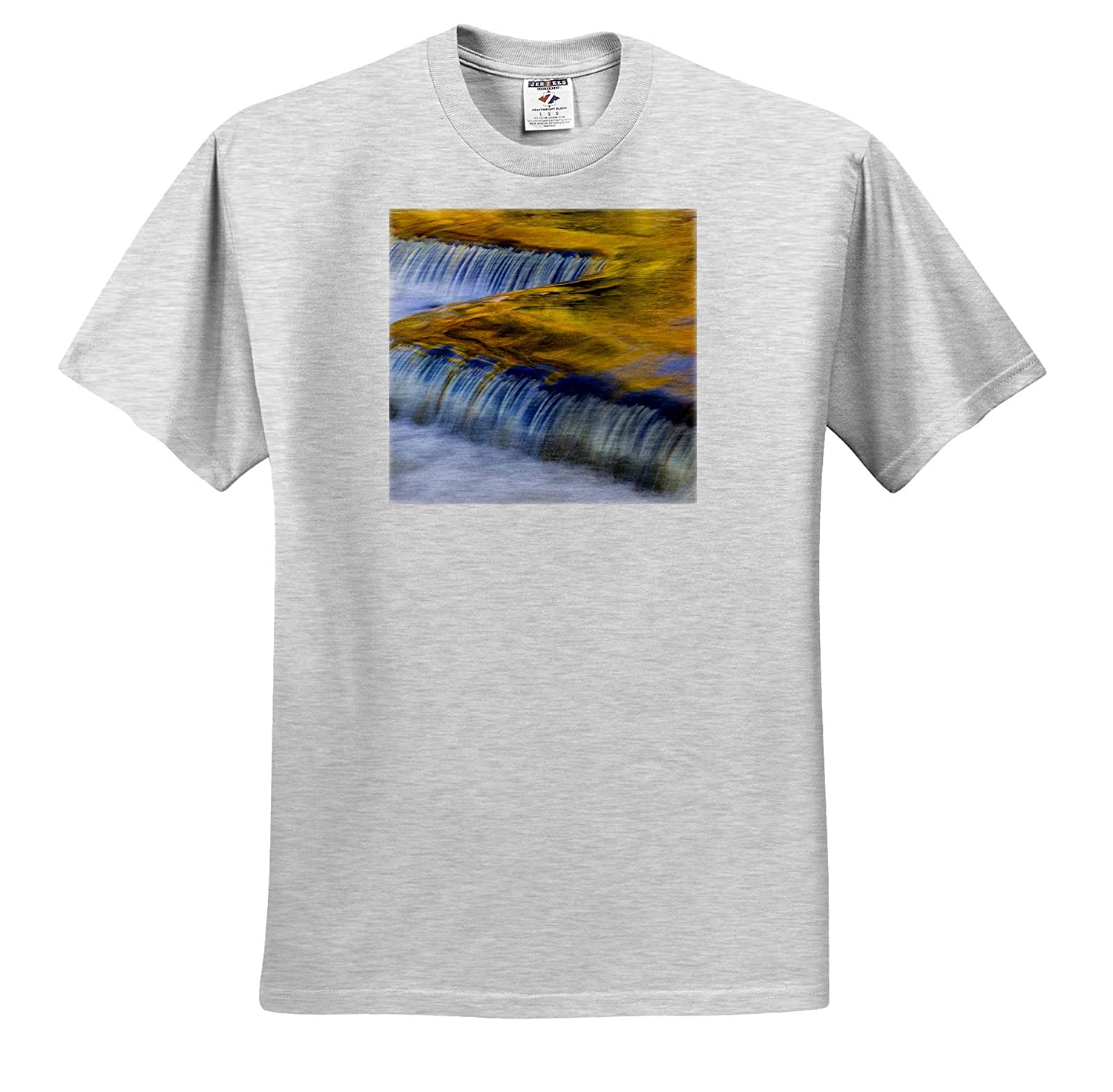Autumn Yellow and Gold Reflect from Tree into Waterfall - Adult T-Shirt XL ts/_314861 3dRose Danita Delimont