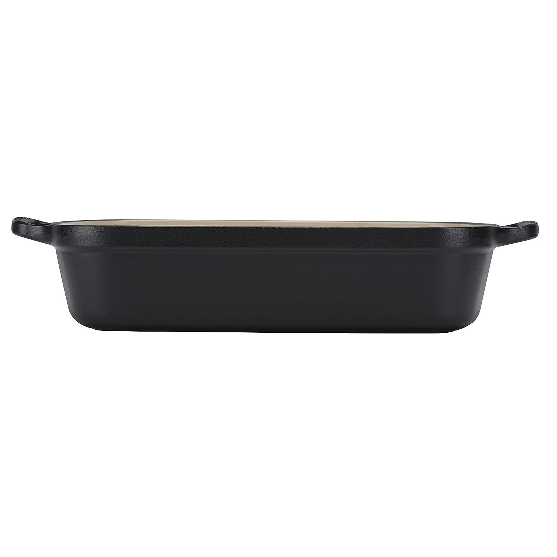 Le Creuset - Bandeja rectangular de hierro colado esmaltado, 33 cm, color negro