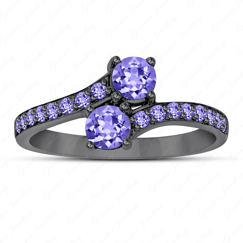 Gemstar Jewellery 18K Black Gold Finishing Round Cut Amethyst Engagement Dark Knight Batman Ring