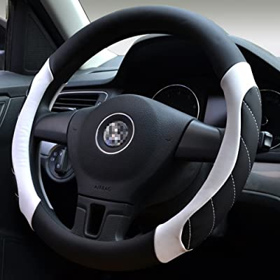 Moyishi Top Leather Steering Wheel Cover Universal Fit Soft Breathable Steering Wheel Wrap (White1): Automotive
