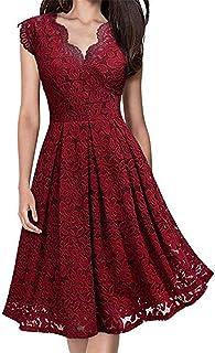 Kelry Women V-Neck Off Shoulder Lace Hem Long Dress Formal Evening Party Dress Sleeveless Dress (Wine Red/Purple/Green/Black, S/M/L/XL)