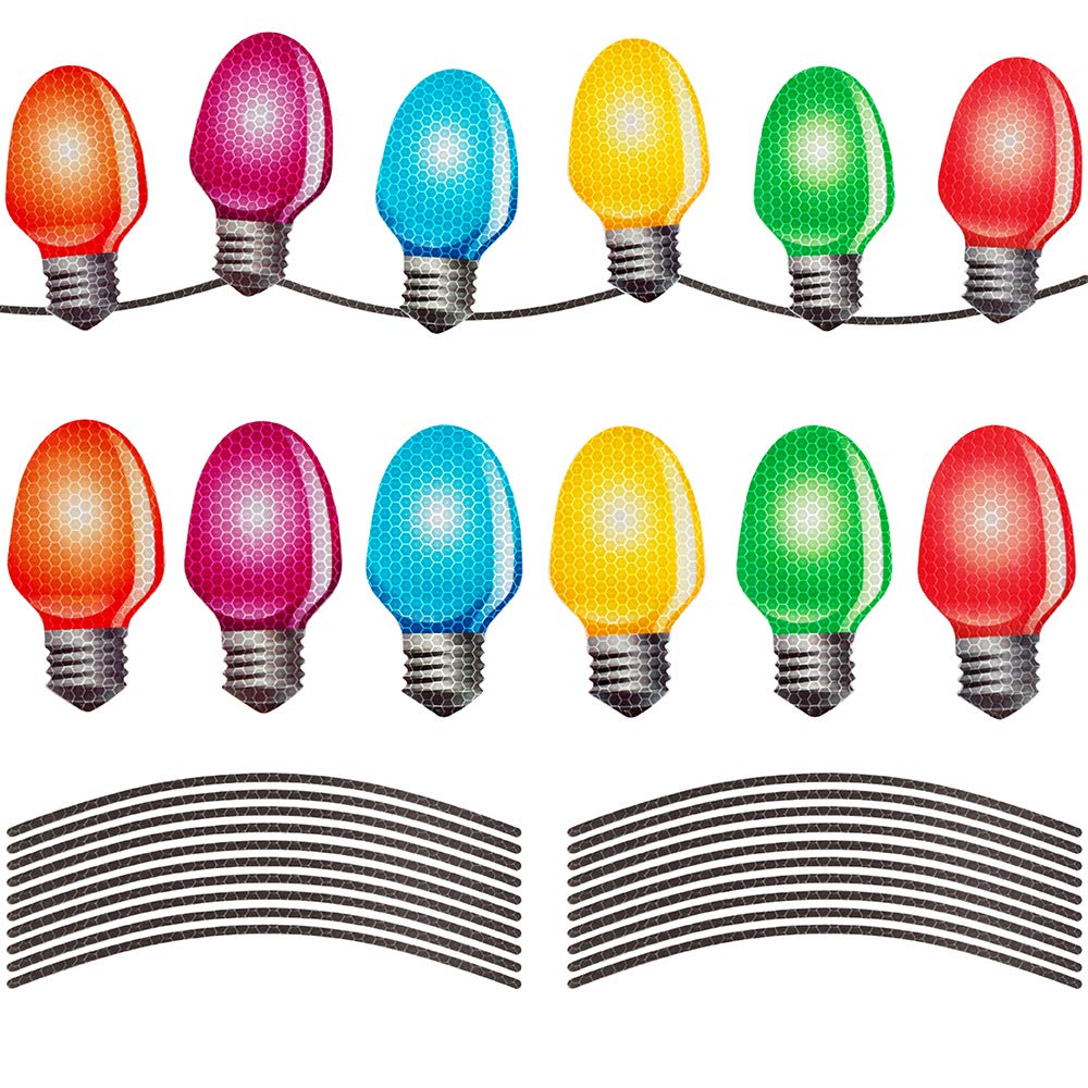 D-FantiX Reflective Christmas Car Magnets Set, Xmas Holiday Automotive Light Bulb Shaped Magnets for Refrigerator Mailbox Car Christmas Decorations 12 Pack with 22 Wire