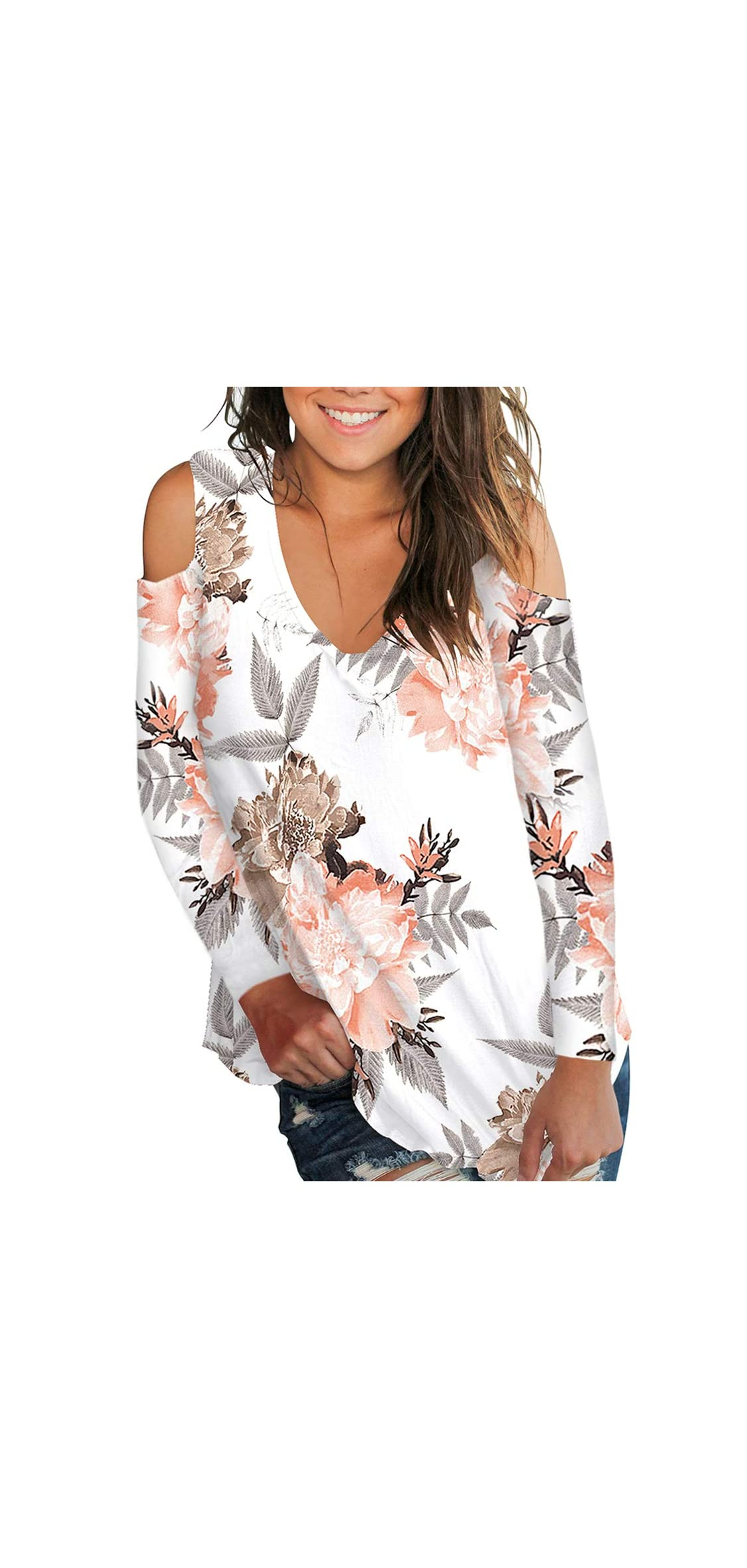 Women's Casual T Shirt V Neck Cold Shoulder Tops