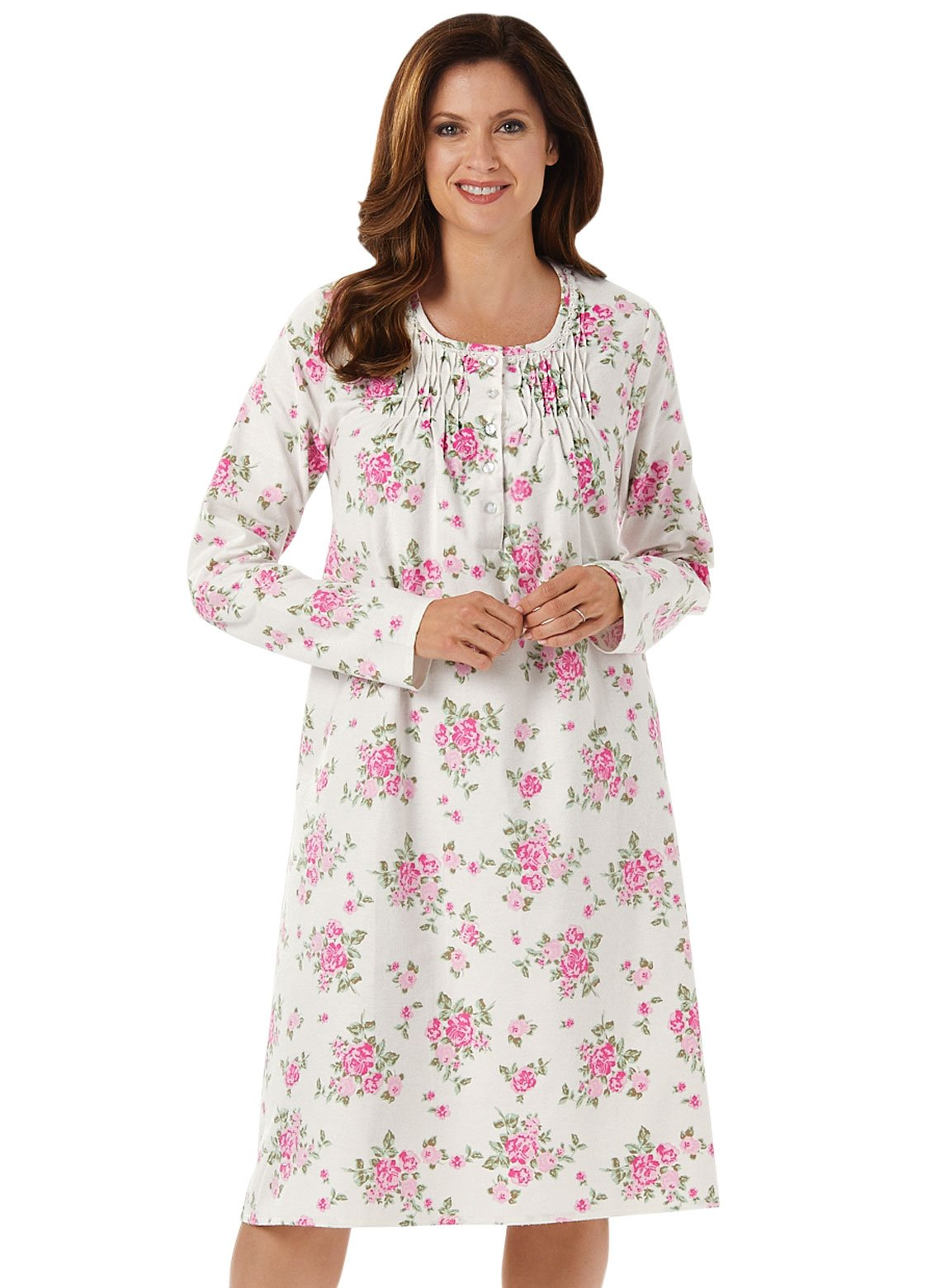 Carol Wright Gifts 100% Cotton Flannel Gown, Color Pink, Size Medium, Pink, Size Medium