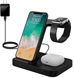 POWERGIANT 3 in 1 Wireless Charging Station Stand with Adapter, 15W Qi Fast Wireless Charging Station for Apple Watch Series 5/4/3/2/1, AirPods Pro, Galaxy Buds, iPhone 12 11 Pro Max X XS XR 8 Plus