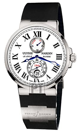 6fb5842bc4ab9 Image Unavailable. Image not available for. Color  Ulysse Nardin Maxi  Marine Chronometer White Dial Mens Watch 263-67-3-40