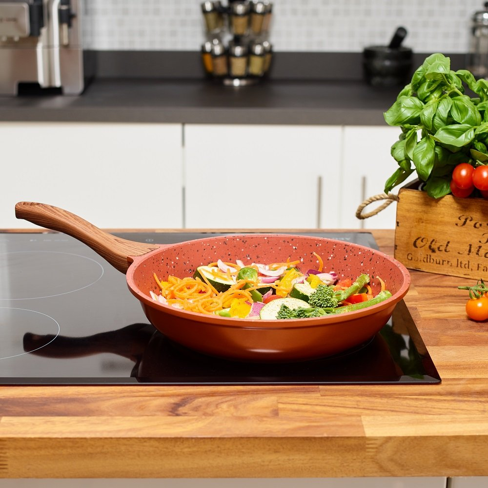 Copper Non Stick Frying Pan with Premium High Performance Stone Coating comes with Bakelite Wood Effect Handle & FREE Stand Alone Lid 20cm | Perfect Healthy Dry Frying