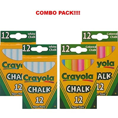Crayola Non-Toxic White Chalk(12 ct Box) and Colored Chalk(12 ct Box) Bundle (2X Combo) : Office Products
