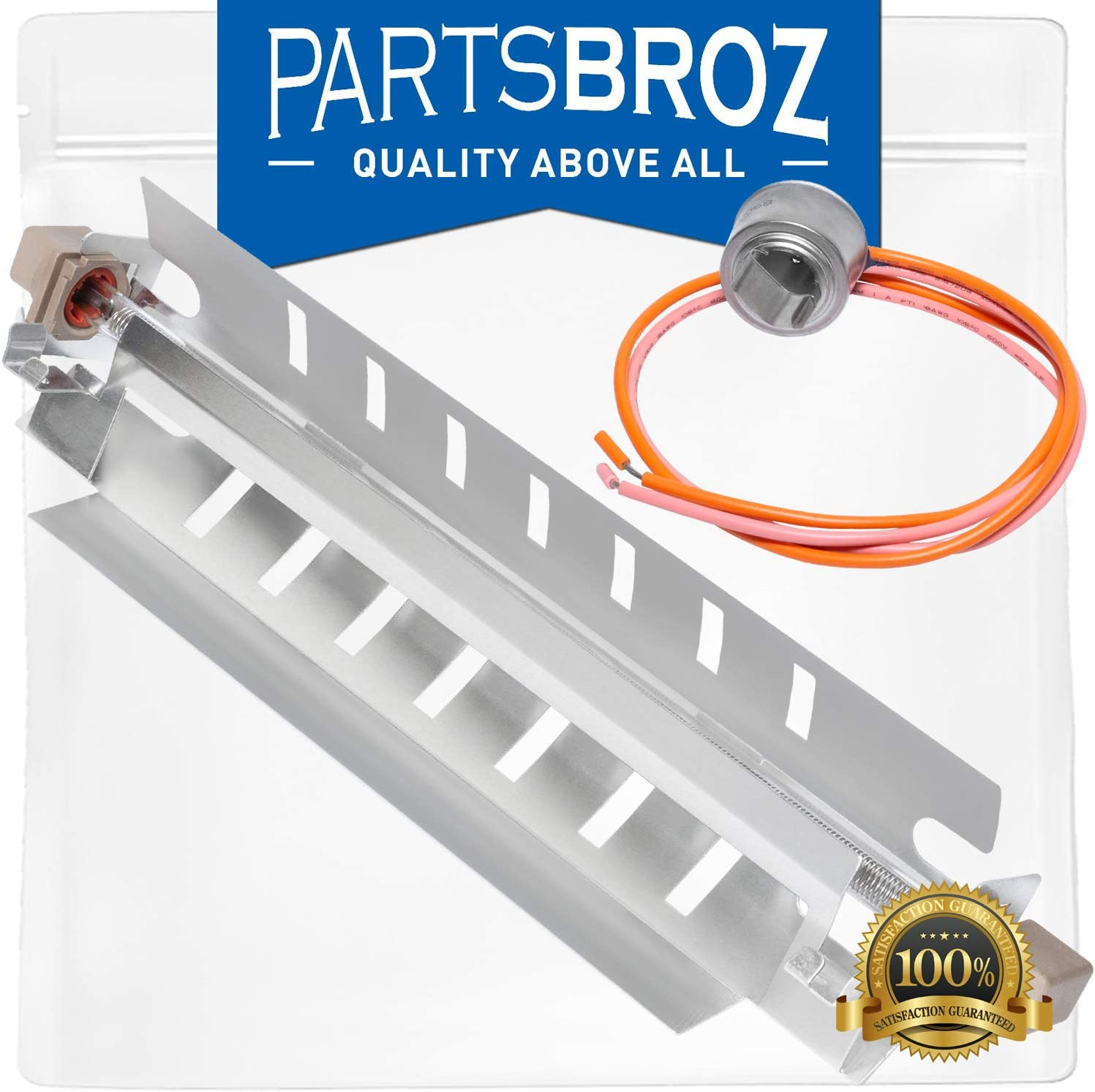 WR51X10055 Defrost Heater & Bracket Assembly & WR50X10068 Defrost Limiter Thermostat for GE Refrigerators by PartsBroz - Replaces AP3183311, PS303781, WR51X10030, AP3884317