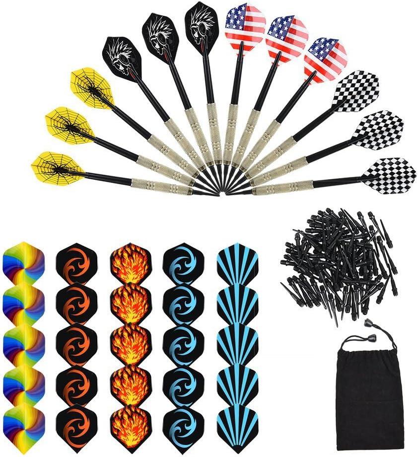 OIZEN Dardos, 12 Pack de 12 Dardos + 100 Puntas + 30 Plumas, Dardos Profesionales Punta Plastico para Diana Electrónica