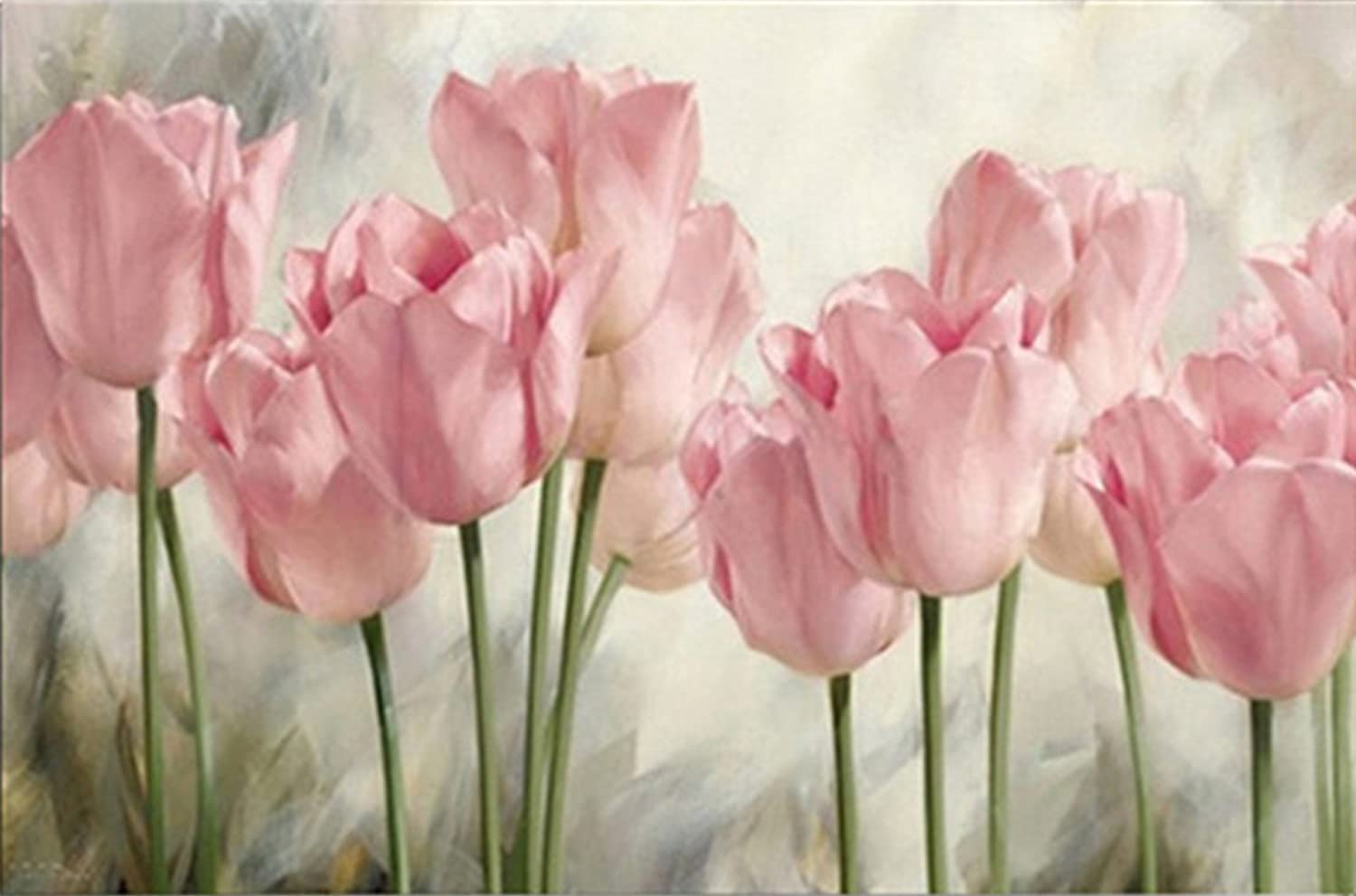 eGoodn Diamond Painting Full Drill Kit DIY Cross Stitch by Number Kit Wall Decor Art, Flower Series Pink Tulips, No Frame (50x35cm)
