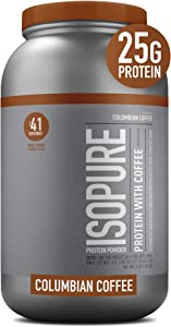 Isopure with Coffee, Vitamin C and Zinc for Immune Support, 25g Protein, Keto Friendly Protein Powder, 100% Whey Protein Isolate, Flavor: Colombian Coffee, 3 Pounds (Packaging May Vary)