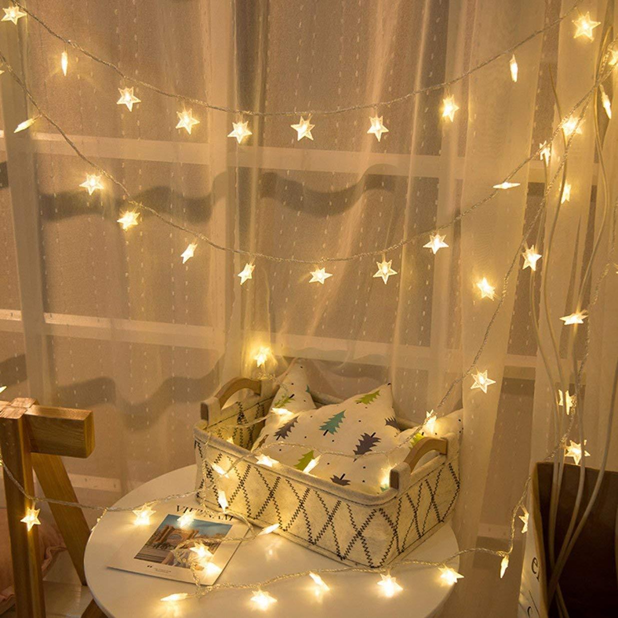 2m 10 Light Sairis Christmas LED Light String Luces de Hadas Snowflake Tree Christmas Home Decor-Transparent bater/ía
