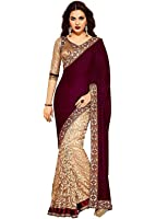 Sarees for Women Latest design for Party Wear Buy in ,Today Offer in Low Price Sale,Georgette Fabric.Free Size Ladies Sari.Saree For Women Latest Design Collection,Fancy Material Latest Sarees,With Designer Beautiful Bollywood Sarees,For Women Party Wear Offer Designer Sarees,With Blouse Piece.New Collection sari,Sarees For Womens,New Party Wear Sarees(Red& beige Color Velvet & Russel Net Fabric Saree)