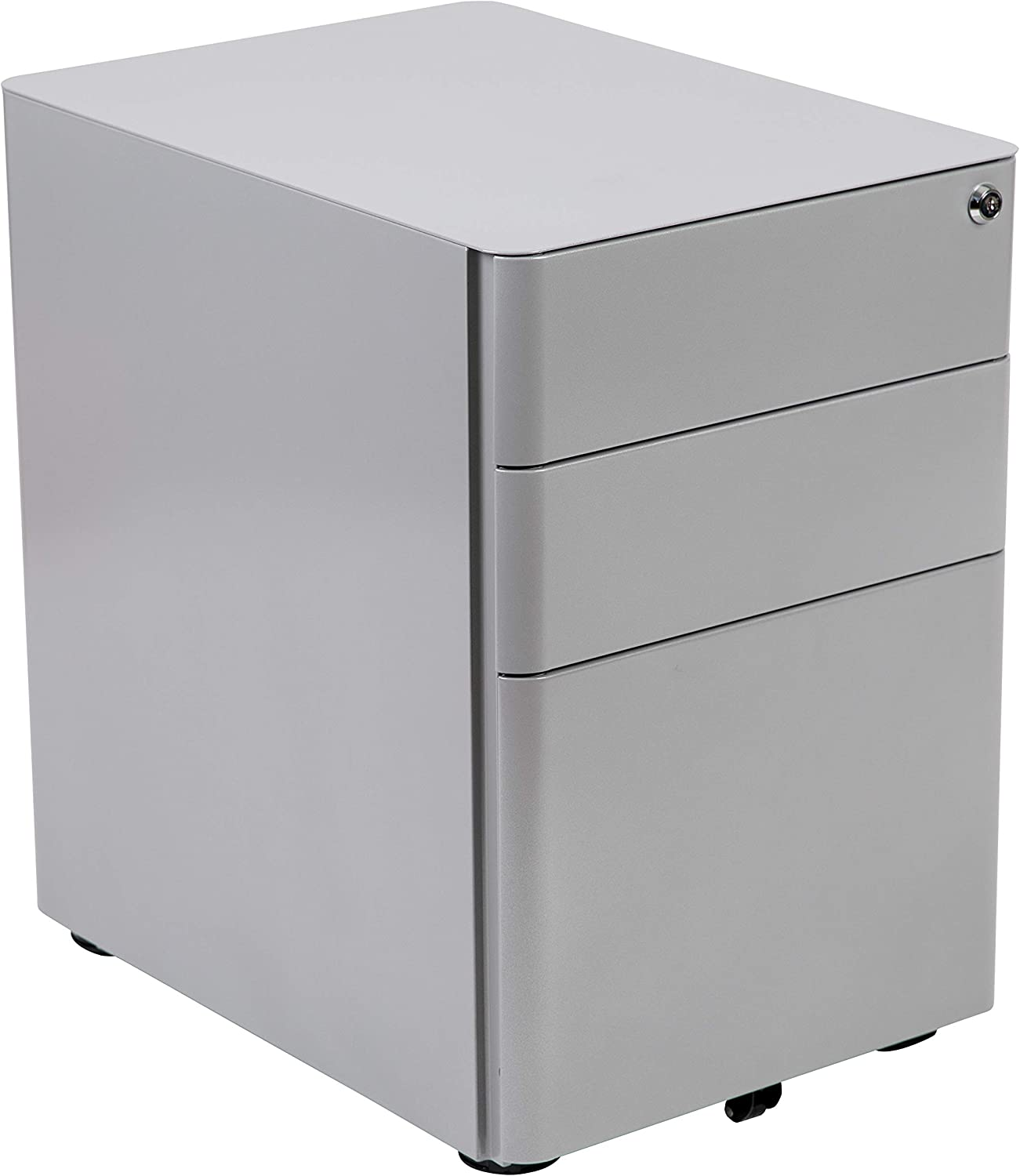 Flash Furniture Modern 3-Drawer Mobile Locking Filing Cabinet with Anti-Tilt Mechanism and Hanging Drawer for Legal & Letter Files, Gray