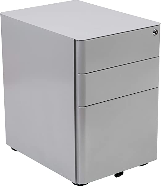 Modern 3-Drawer Mobile File Cabinet with Lock Black