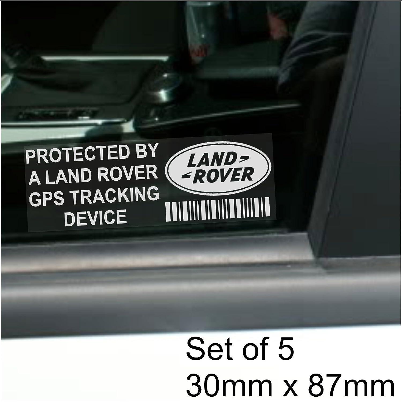 5 adesivi per finestrino Range Rover Defender modelli Discovery Freelander per la sicurezza scritta GPS Tracking Device 87 x 30 mm per Land Rover