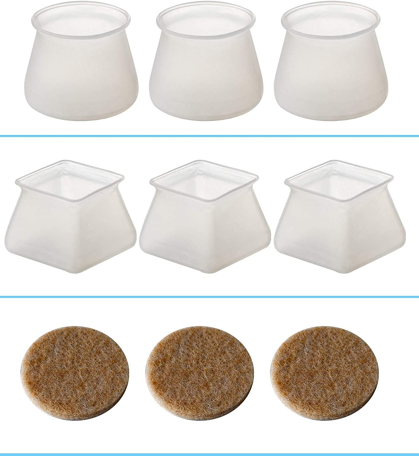 Covers for Chair Legs to Protect Floors - 32pcs Round Furniture Silicon Protection Cover Leg Cap-8pcs Square Furniture Silicon Protection Cover Leg Cap-60pcs Wool Felt Pad Self-Adhesive Furniture Pads