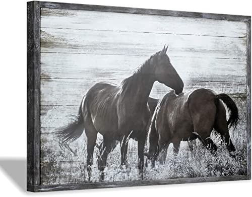 Farmhouse Wooden Horses Wall Art: Wild Animal Meadow Horse Picture Painting