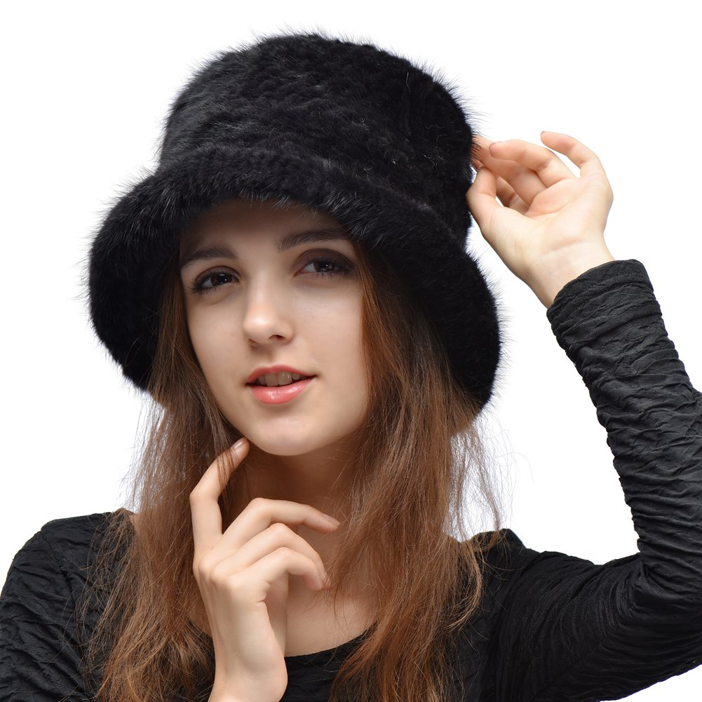 Queenfur Real Mink Fur Hat - Women's Winter Knitted Bucket Hats with Flower Pin QFHM1002C06