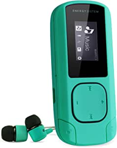 Energy Sistem MP3 Clip (Mp3 Player, MP3 Music Player with LCD Screen, 8 GB, microSD Card, FM Radio and in-Ear Earphones Included) - Mint Green