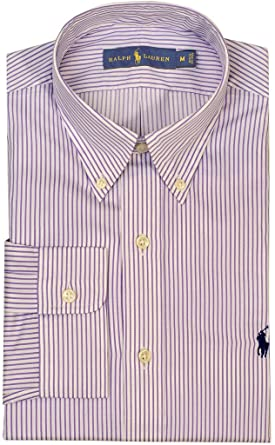 b410f22e29e03d Polo Ralph Lauren Men's Standard-Fit Striped Poplin Sport Shirt,  White/Purple, Large at Amazon Men's Clothing store: