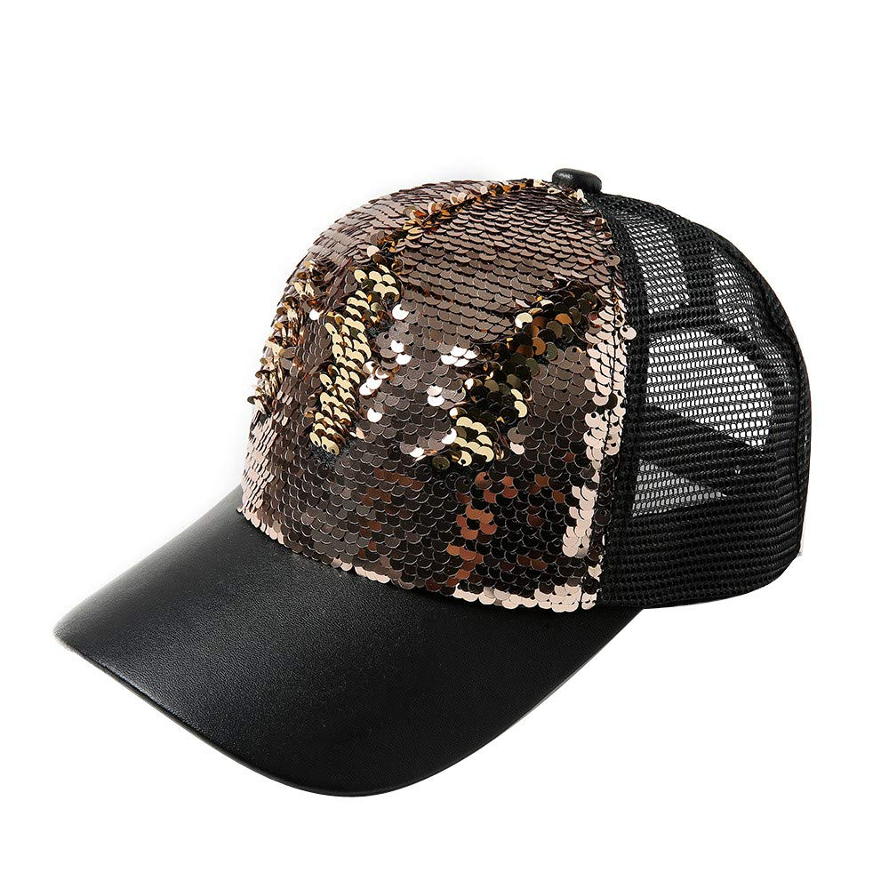 7e772521306602 Amazon.com: XOWRTE Women Men Adjustable Strapback Double Color Sequins Baseball  Cap Hat: Clothing