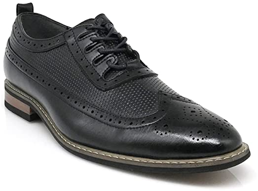 Wooden02N Men's Classic refinement Wingtip Oxfords Perforate Prince Dress Shoes