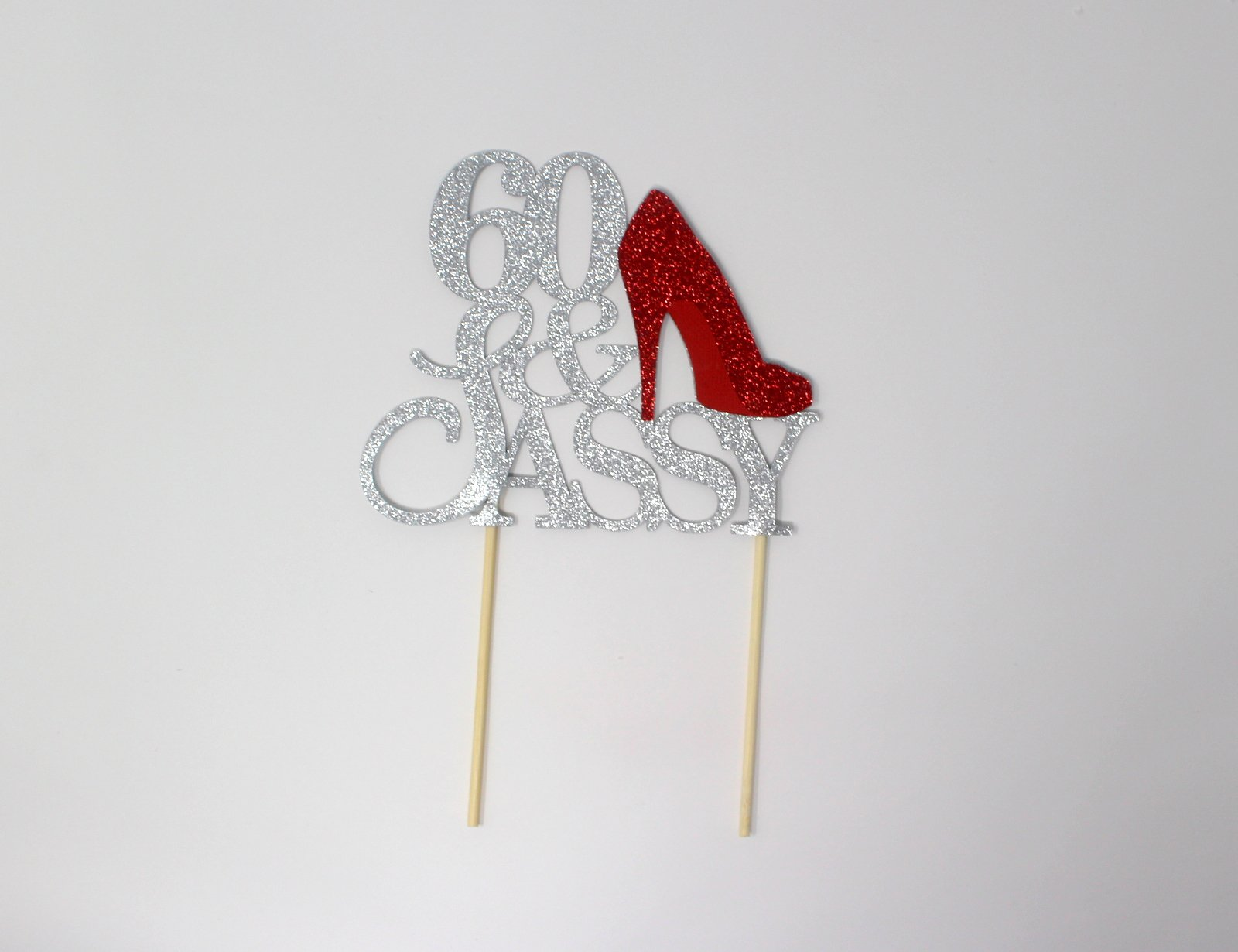 All About Details CAT60SASRE 60 and Sassy Cake Topper (Silver and Red), 6in Wide and 5in Tall with 2-pcs of 4in Wood skewers