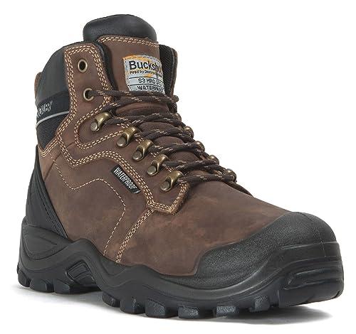 Botas impermeables para hombre, Buckler BSH009BR, botas de trabajo de seguridad, antirozaduras,