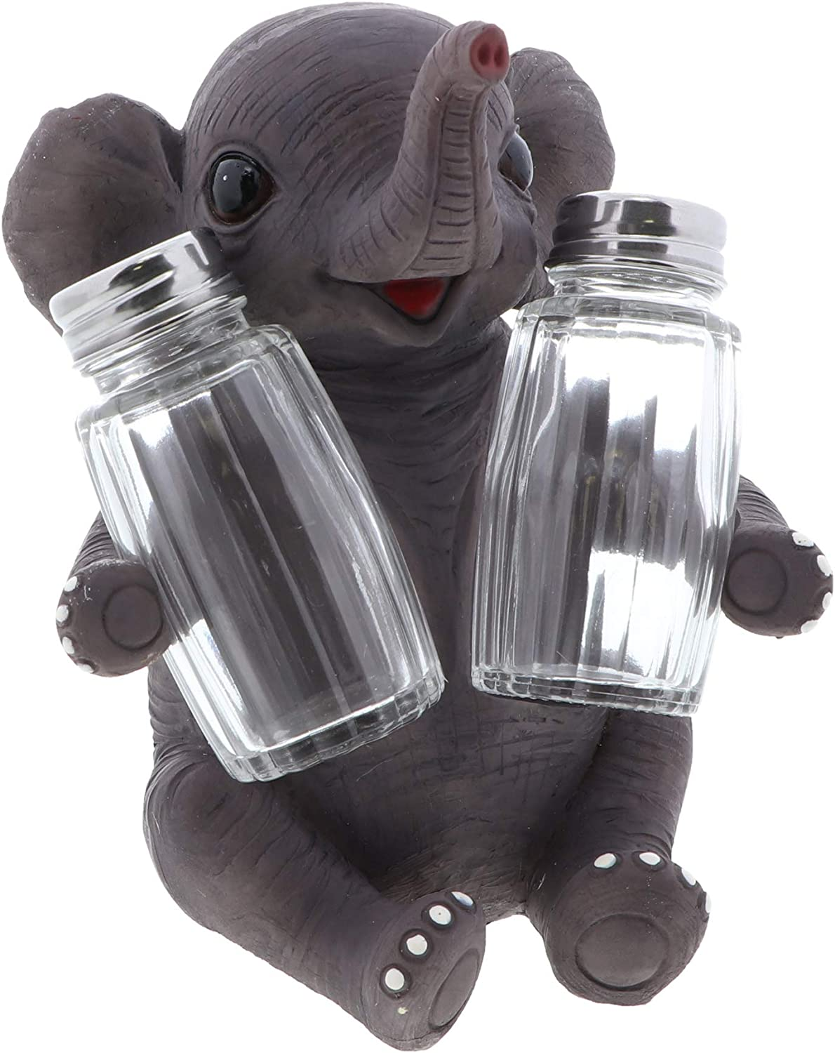 Jungle Animals Kitchen Décor Novelty Salt and Pepper Shaker Set with Holder  - Baby Elephant