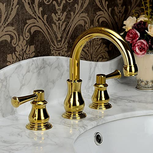 Jiuzhuo Classic Style Double Handle Widespread Basin Vanity Bathroom Faucet Deck Mount Lavatory Gold