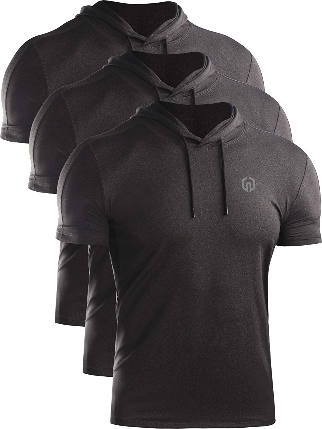 Neleus Mens Dry Fit Performance Athletic Shirt with Hoods