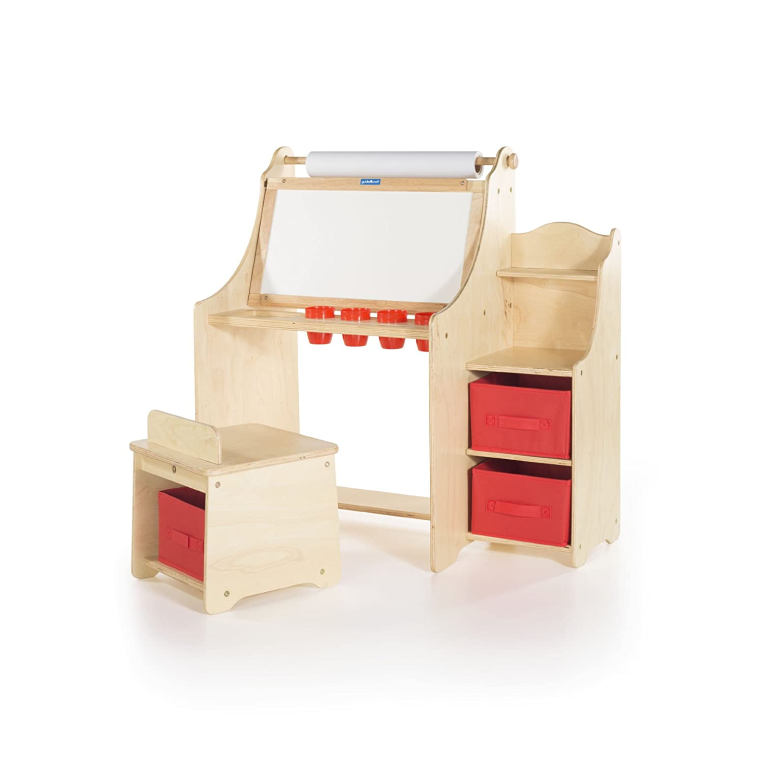 Guidecraft Artist Activity Desk with Storage Stool - Desk Unit, Chair, Paint Cups and Fabric Storage Bins ababy 26999