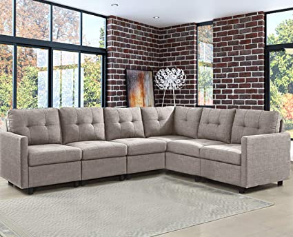 OuchTek 6 Pieces Modular Sectional Sets, Taupe Gray Linen Blend Assemble  Sofas for Living Room