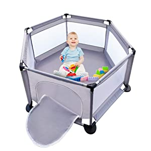 Baby Playpen, Baby Fence Play Area Indoor, Play Yard for Baby, Activity Center, Outdoor Playpen with Anti-Slip Base, Sturdy Safety Extra Large Playard