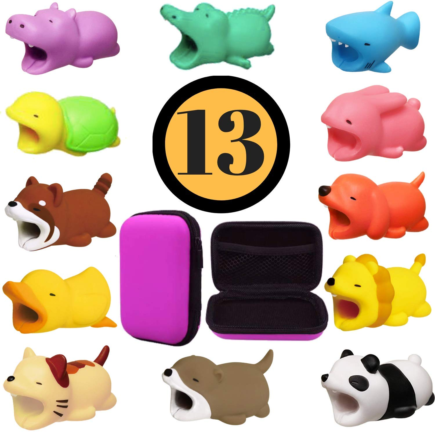 Animal Buddies Phone Cord Bites - Cable Protector for iPhone - Bite Cord Phone Accessory- Cute Animals Protects Cell Phone Accessories & Bites Data Line (13 Pieces w/Pouch) Animal Biters