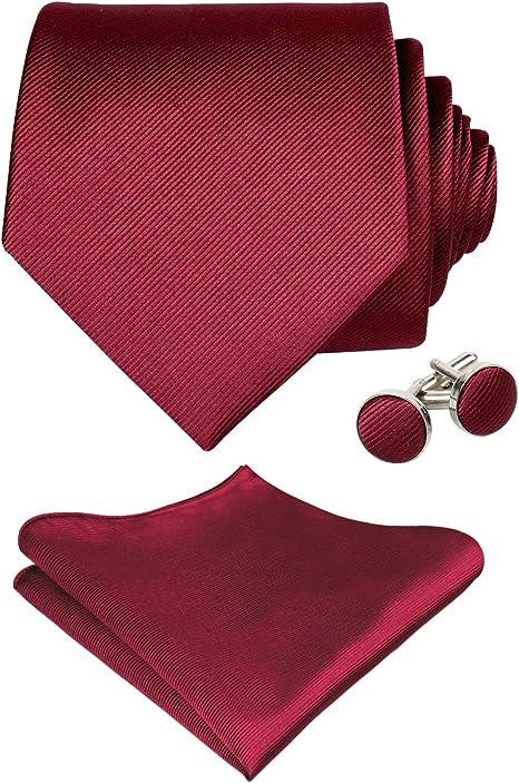 Alizeal Mens del color sólido corbata, pañuelo y gemelos conjunto ...