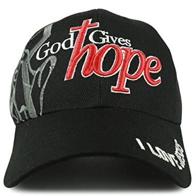 ebde5bca71e Trendy Apparel Shop God Gives Hope 3D Embroidered Christian Theme  Adjustable Baseball Cap - Black